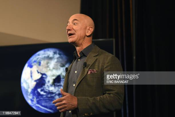 Amazon Founder and CEO Jeff Bezos speaks to the media on the companys sustainability efforts on September 19 2019 in WashingtonDC Amazon CEO Jeff...