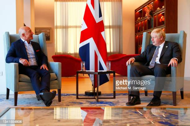 Amazon founder Jeff Bezos meets with British Prime Minister Boris Johnson at the UK diplomatic residence on September 20, 2021 in New York City. The...