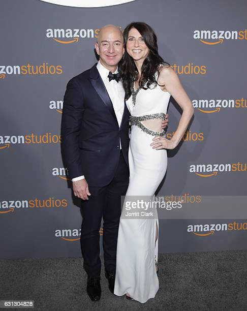 Amazon Founder/CEO Jeff Bezos and MacKenzie Bezos attend the Amazon Studios Golden Globes Party at The Beverly Hilton Hotel on January 8 2017 in...