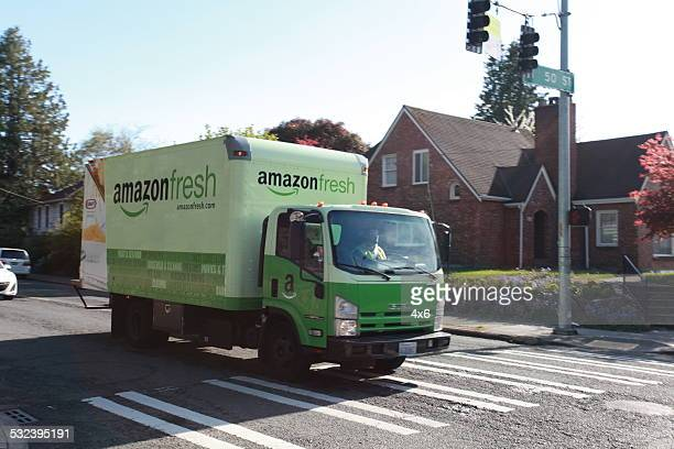 Amazon fresh delivery truck in Seattle