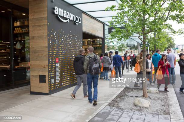 amazon go automated shopping at headquarters building, seattle washington usa - local landmark stock pictures, royalty-free photos & images