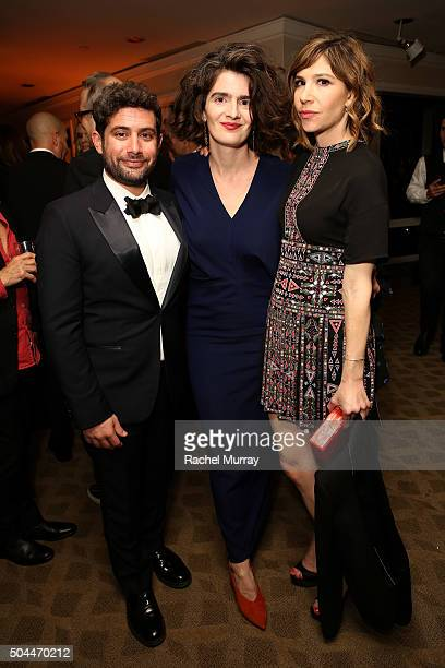 Amazon Head of HalfHour Series Joe Louis actresses Gaby Hoffmann and Carrie Brownstein attend Amazon's Golden Globe Awards Celebration at The Beverly...