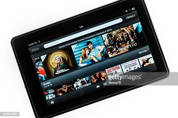 amazon kindle fire hd tablet isolated on white - video still stock photos and pictures