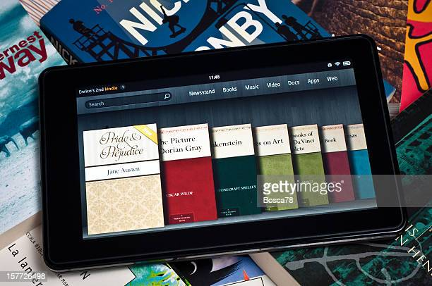 Amazon Kindle Fire tablet on a heap of books