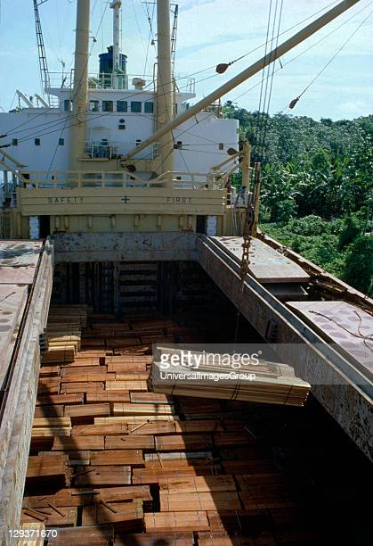 Amazon Logging. Timber being loaded onto ship for export.