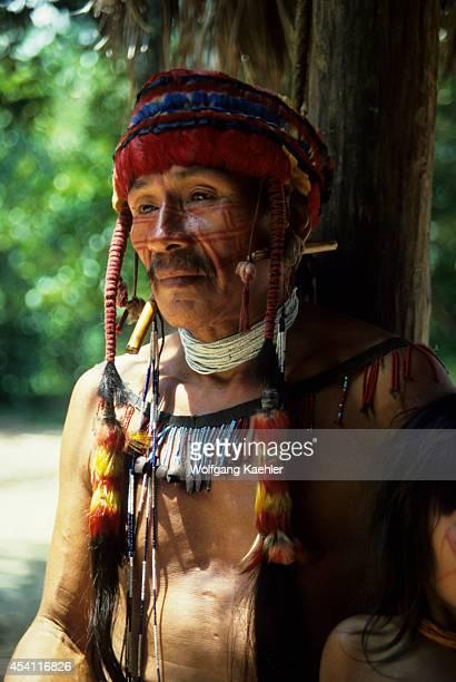Amazon, Peru, Portrait Of Jivaro Indian.