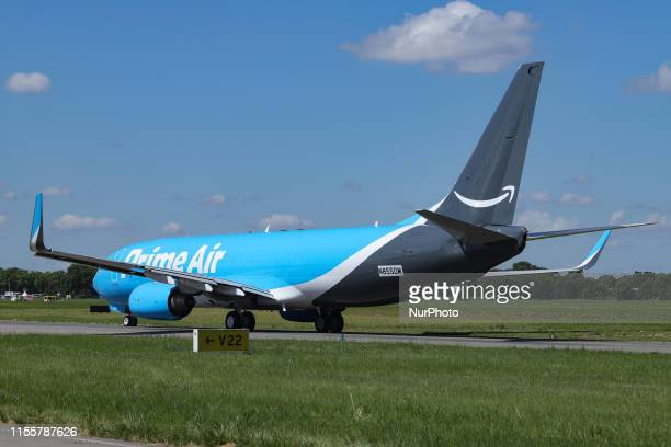 Amazon Prime Air Boeing 737 aircraft with registration N855DM as seen at Paris Air Show 2019 at Le Bourget Airport LBG in France The aircraft is a...