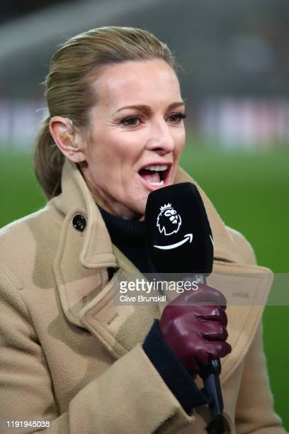 Amazon Prime Broadcaster Gabby Logan looks on during the Premier League match between Liverpool FC and Everton FC at Anfield on December 04, 2019 in...