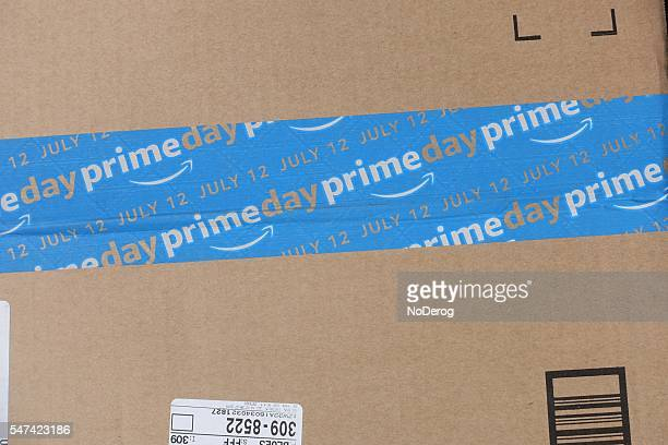 Amazon Prime Day shipping package with blue PRIMEDAY tape