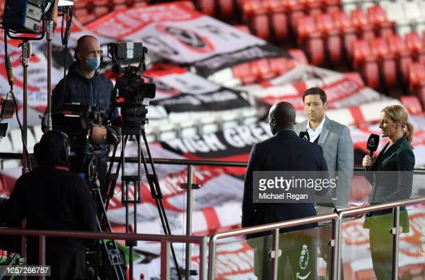 Amazon Prime Presenter Gabby Logan presents during the Premier League match between Sheffield United and Everton FC at Bramall Lane on July 20, 2020...