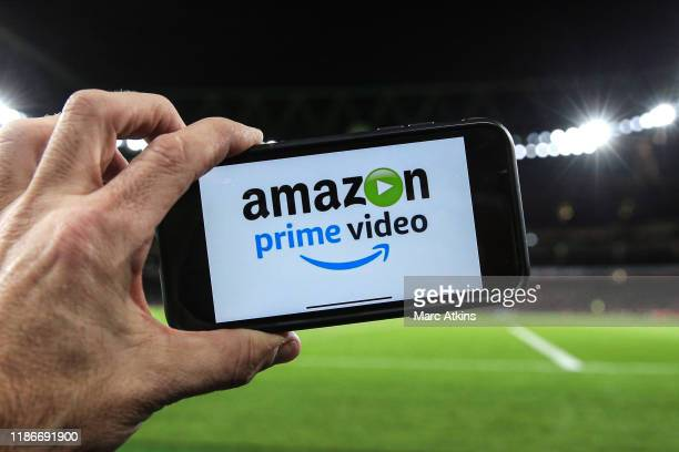 Amazon prime showing the match live via the internet during the Premier League match between Arsenal FC and Brighton & Hove Albion at Emirates...