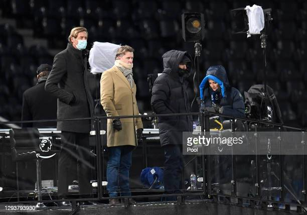 Amazon Prime TV pundits Peter Crouch, Steve McManaman and Alan Shearer watch on during the Premier League match between Newcastle United and...