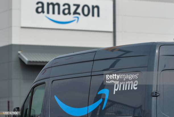 Amazon Prime van waiting to depart from the Amazon delivery centre in Channel Commercial Park in Belfast. Packages are shipped to the delivery...