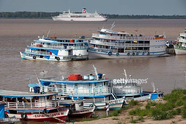 Amazon river boats and cruise ship MS Deutschland