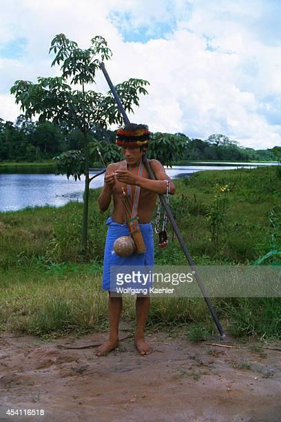Amazon River Jivaro Indian Man With Blow Gun