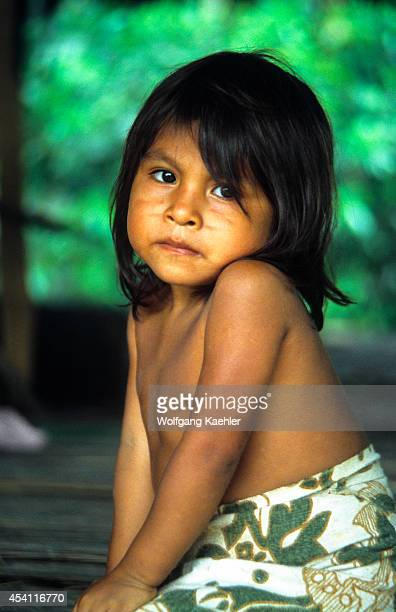 Amazon River Portrait Of Bora Indian Girl