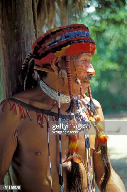 Amazon River Portrait Of Jivaro Indian Man