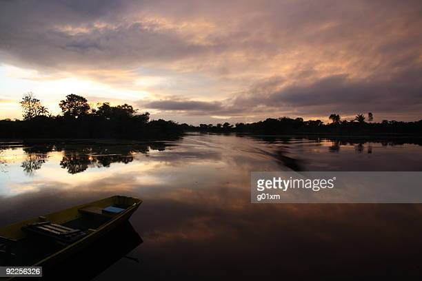 amazon river sunrise - northern brazil stock photos and pictures
