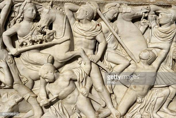 Amazon sarcophagus Marble Tel Mevorah Roman Period Early 3rd century AD Detail Batlle between the Amazons and the Greeks Relief Rockefeller...