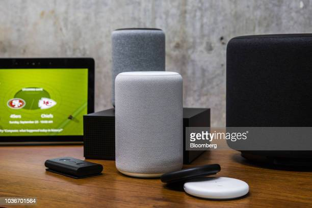 Amazon smart devices sit on display during an unveiling event at the Amazoncom Inc Spheres headquarters in Seattle Washington US on Thursday Sept 20...