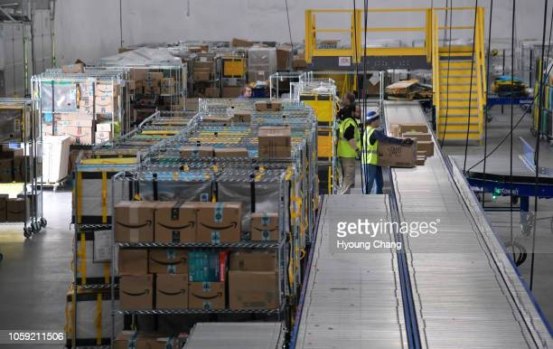 Amazon South Denver Delivery Station the point where packages go out in truck vans and cars before heading to their final destinations November 8 2018
