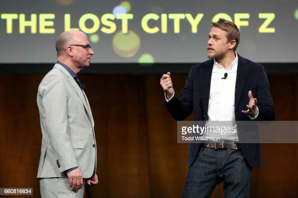 Amazon Studios Head of Marketing and Distribution Bob Berney and actor Charlie Hunnam speak onstage at Amazon Studios 2017 CinemaCon Presentation at...