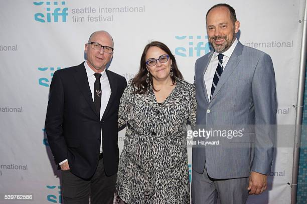 Amazon Studios Head of Marketing and Distribution Bob Berney Director Jocelyn Moorhouse and Carl Spence arrive for the SIFF closing night screening...