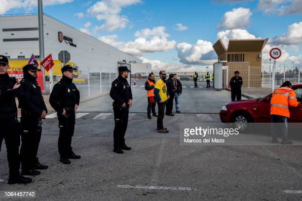 Amazon workers protesting during a strike on Black Friday in the main logistic center demanding better working conditions