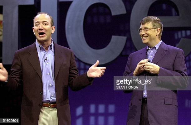 Amazoncom CEO Jeff Bezos tells a joke with Microsoft CEO Bill Gates at the Office XP launch 31 May in New York Gates and Bezos demonstrated new...