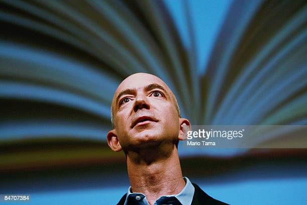 Amazoncom founder and CEO Jeffrey P Bezos speaks at an event unveiling the new Amazon Kindle 2 at the Morgan Library Museum February 9 2009 in New...