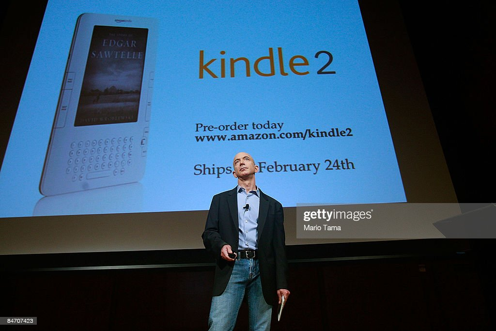 Amazon.com founder and CEO Jeffrey P. Bezos speaks at an event unveiling the new Amazon Kindle 2 at the Morgan Library & Museum February 9, 2009 in New York City. The updated electronic reading device is slimmer with new syncing technology and longer battery life and will begin shipping February 24th.