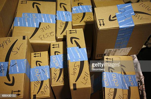 Amazoncom Inc packages are seen inside a United States Postal Service post office in Shelbyville Kentucky US on Thursday Dec 22 2016 More than 30...