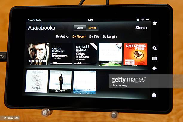 Amazoncom Inc's Kindle Fire HD tablet is displayed at a news conference in Santa Monica California US on Thursday Sept 6 2012 Amazoncom Inc is...