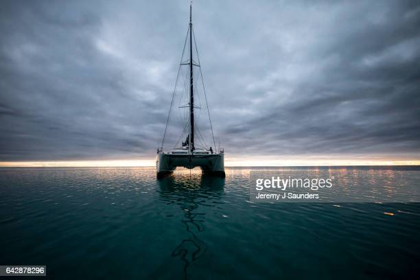 amazone sunset - catamaran stock photos and pictures