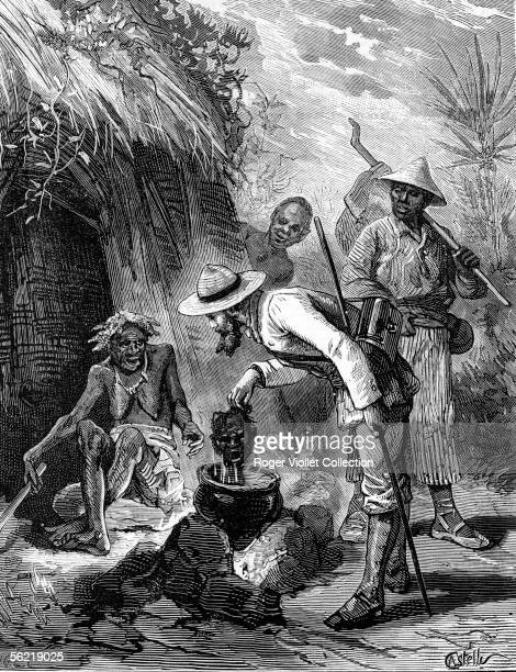 Amazonia Indians's life Old Indian woman cooking a human head Engraving 1880