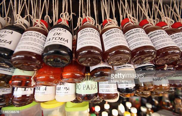 Amazonian herbal remedies are seen for sale at the historic VeroPeso market on June 7 2012 in Belem Brazil Belem is considered the entrance gate to...