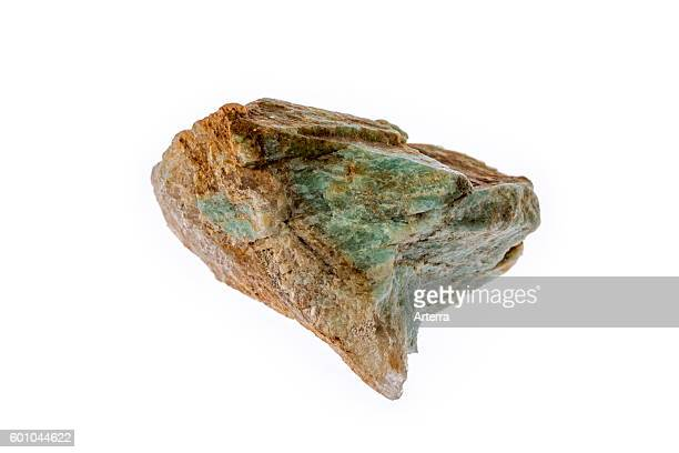 Amazonite / Amazon stone specimen green variety of microcline feldspar on white background