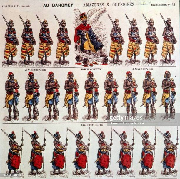 Amazons and warriors of Dahomey a series of 'Epinal images created by Imagerie Pellerin France 1870 JeanCharles Pellerin French draftsman illustrator...