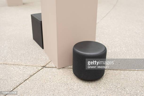Amazon's new Echo Sub is demonstrated during a launch event at The Spheres in Seattle on September 20 2018 Amazon weaves its Alexa digital assistant...