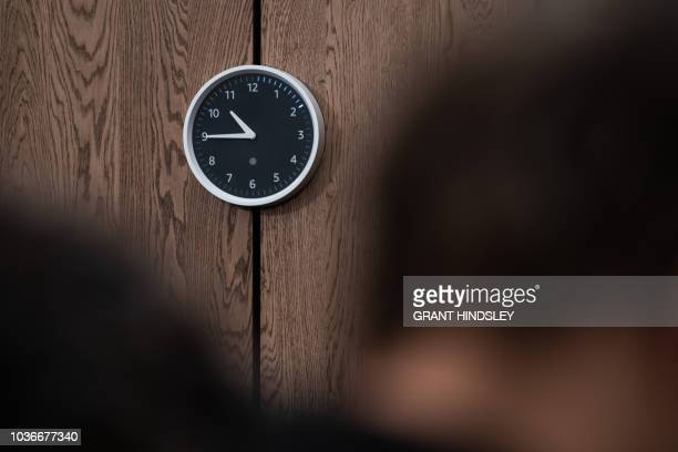 Amazon's new Echo Wall Clock displays timers around the perimeter of the clock during a release and demonstration event at The Spheres in Seattle on...