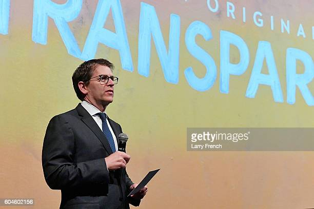 Amazon's Senior Vice President for Global Corporate Affairs Jay Carney speaks onstage at the Amazon Transparent Screening on September 13, 2016 in...
