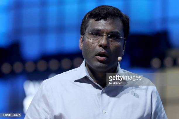 Amazons VP & Head Scientist of Alexa Artificial Intelligence Rohit Prasad delivers a speech during the annual Web Summit technology conference in...
