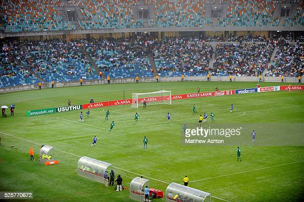 Amazulu FC play Maritzburg United in the Durban Derby during the first ever football match in the Moses Mabhida Stadium in Durban South Africa one of...