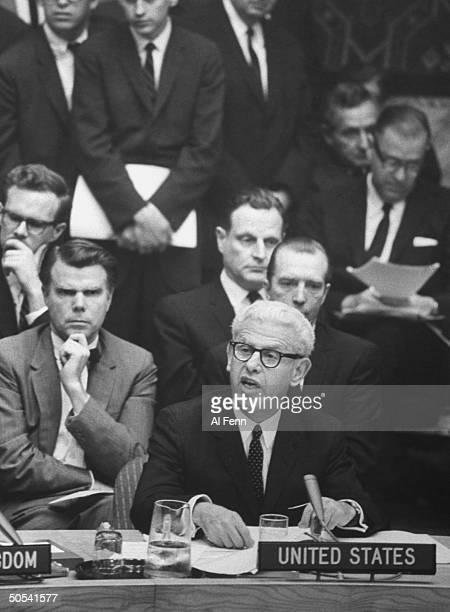 Amb. Arthur J. Goldberg at Security Council Session re: Arab-Israeli war.