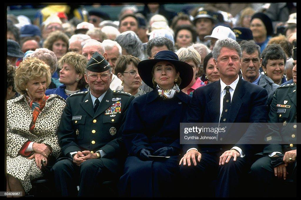 US Amb. Pamela Harriman, Gen. John Shalikashvili, First Lady Hillary Rodham & Pres. Bill Clinton at D-Day 50th anniversary event.