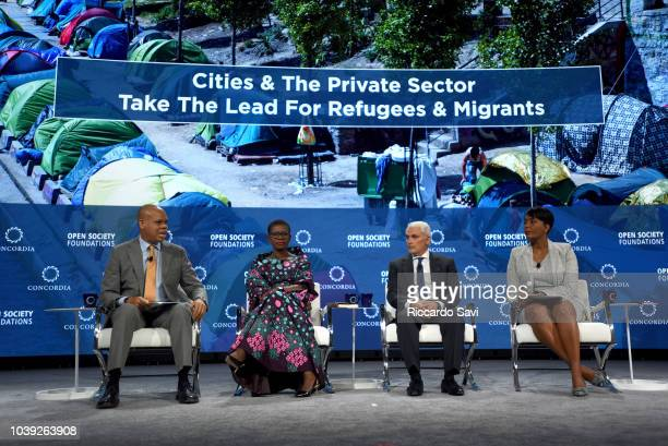 Amb Patrick Gaspard Hon Yvonne AkiSawyerr Frank Giustra and Hon Keisha Lance Bottoms speak onstage during the 2018 Concordia Annual Summit Day 1 at...