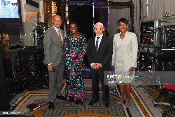 Amb Patrick Gaspard Hon Yvonne AkiSawyerr Frank Giustra and Hon Keisha Lance Bottoms attend the 2018 Concordia Annual Summit Day 1 at Grand Hyatt New...