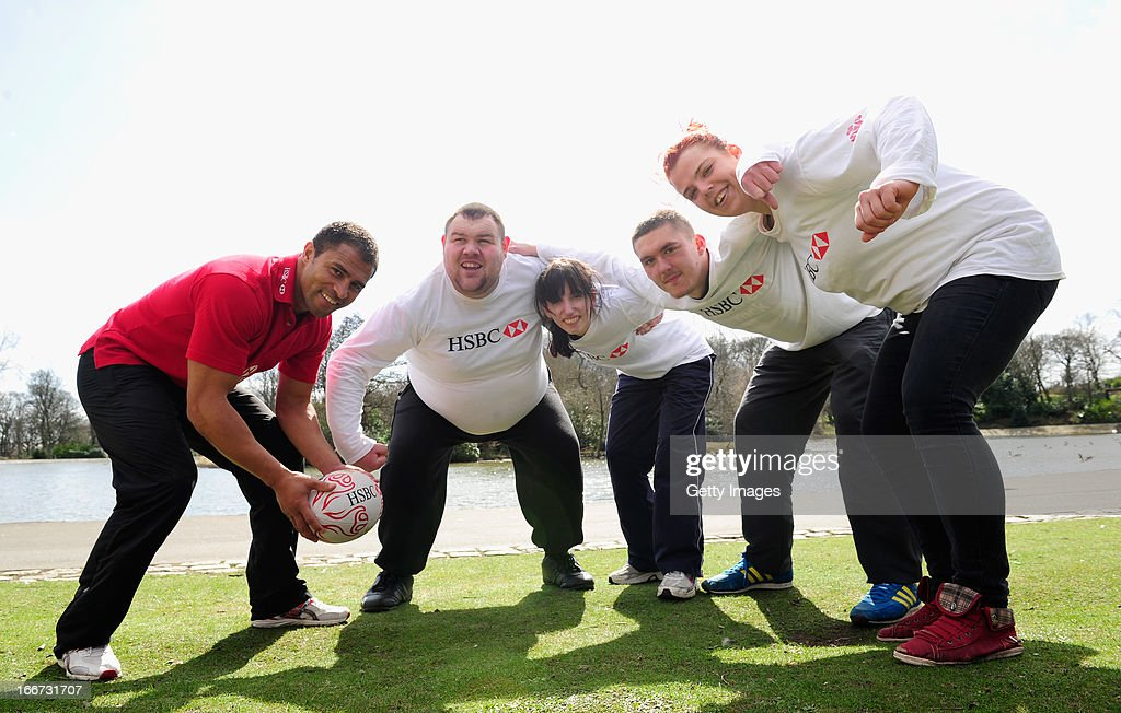 Ambassador and former dual-code rugby legend Jason Robinson (l) coaches young people from the Prince's Trust Fairbridge programme during a Rugby themed coaching session at Newcastle University on April 16, 2013 in Newcastle upon Tyne, England.