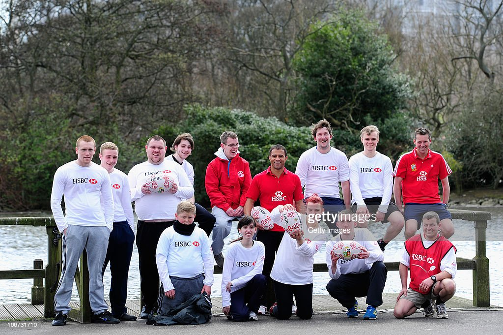Ambassador and former dual-code rugby legend Jason Robinson (c) with young people from the Prince's Trust Fairbridge programme during a Rugby themed coaching session at Newcastle University on April 16, 2013 in Newcastle upon Tyne, England.