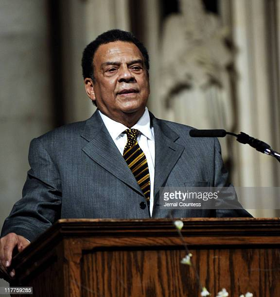 Ambassador Andrew Young addresses the audience at The 'Realizing the Dream' Martin Luther King Jr Tribute at Riverside Church in New York City on...
